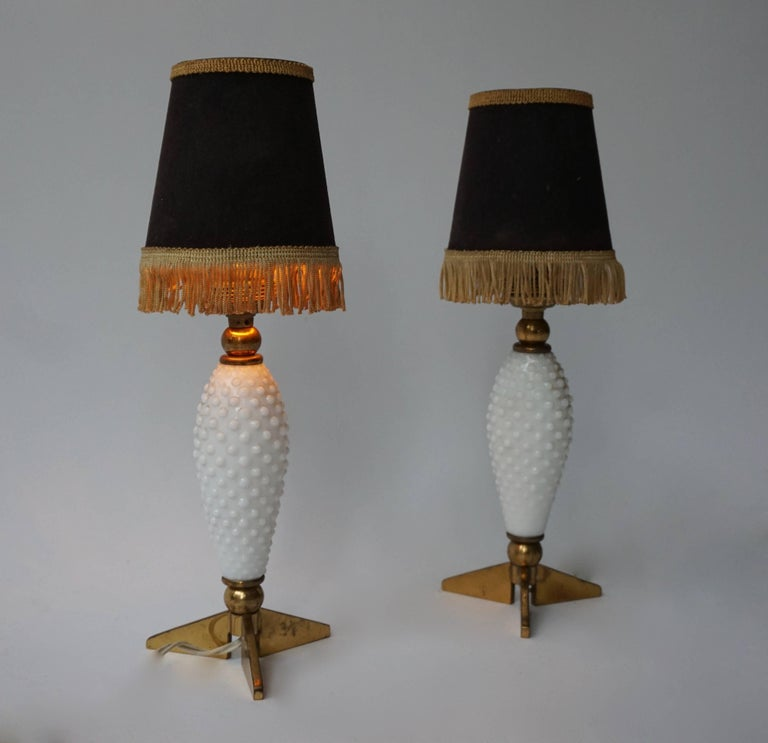 Two 1950s table lamps. Measures: Height base 23 cm. Diameter base 11 cm. Height with shade 33 cm.  Shades are not included in the price.