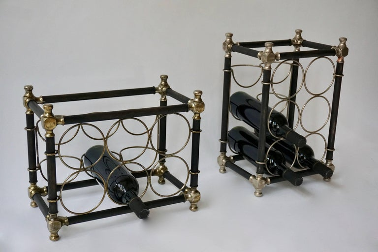 Two small brass wine racks suitable for counter top made for six bottles.