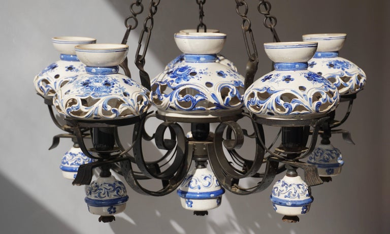 Unique and Beautiful Antique Delft Blue Oil Lamp Chandelier For Sale 1