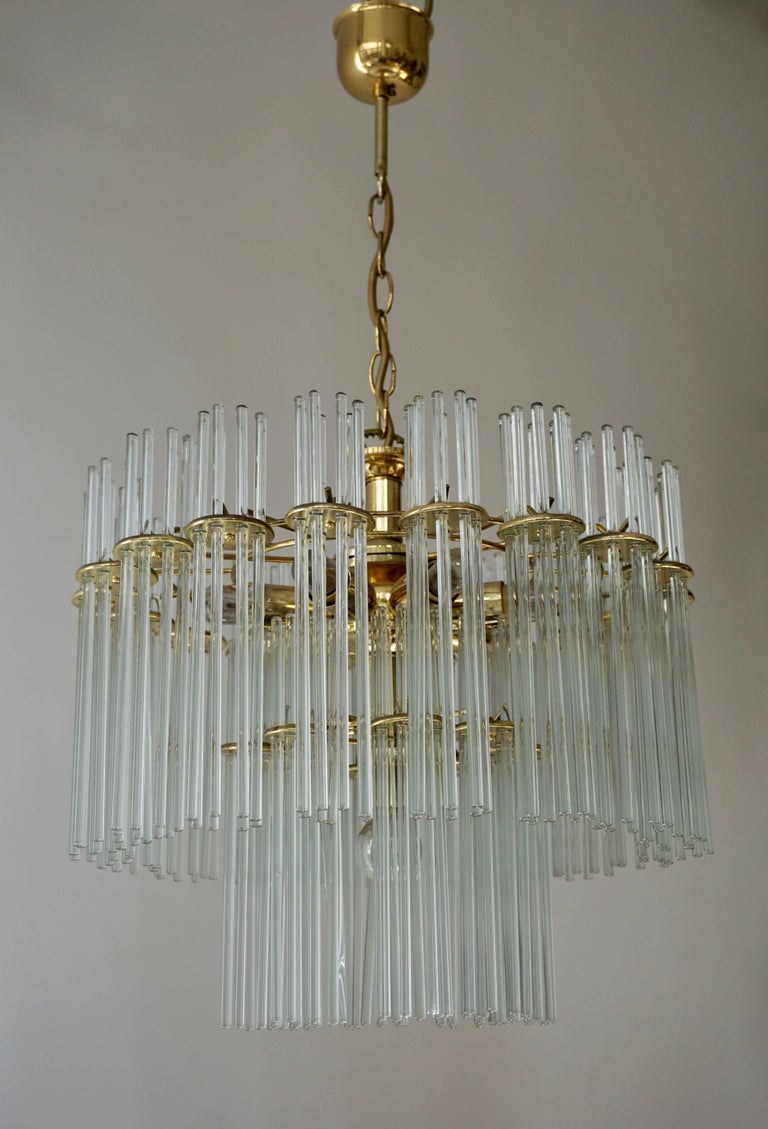 Mid-Century Modern Italian Murano Glass and Brass Chandelier For Sale