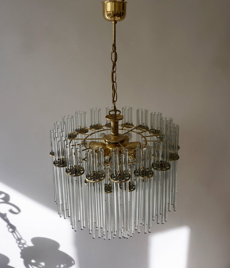 Italian Murano Glass and Brass Chandelier For Sale 3