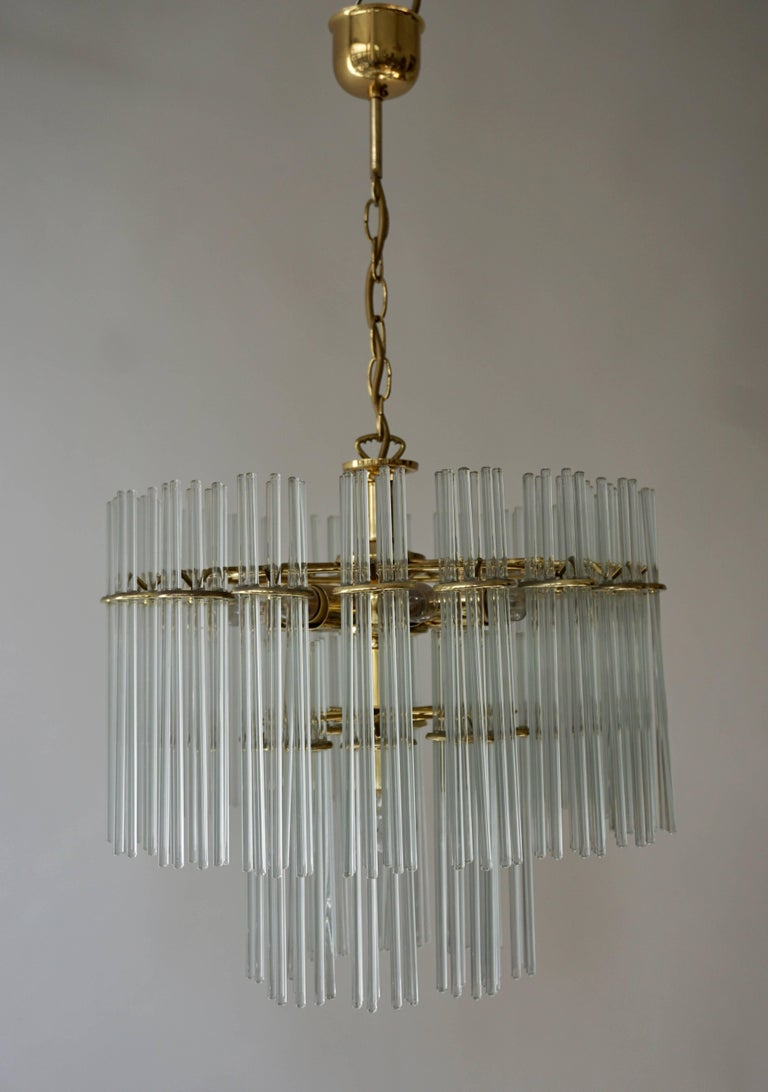20th Century Italian Murano Glass and Brass Chandelier For Sale