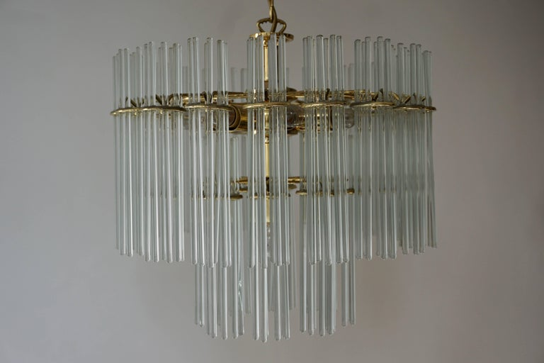 Italian Murano Glass and Brass Chandelier For Sale 2