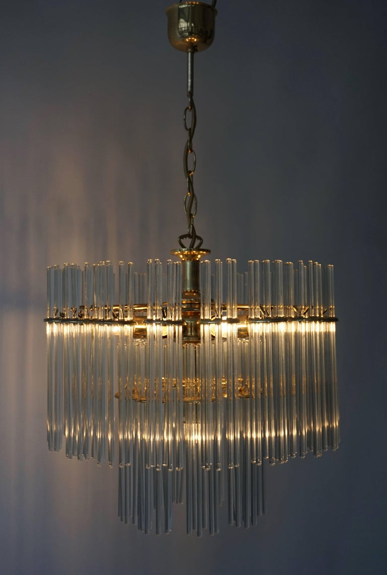 Italian Murano Glass and Brass Chandelier For Sale 1