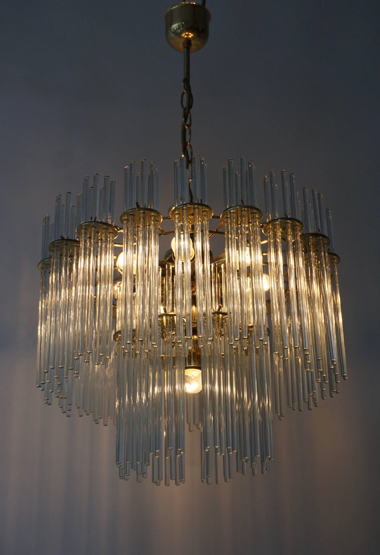 Italian Murano Glass and Brass Chandelier In Excellent Condition For Sale In Antwerp, BE