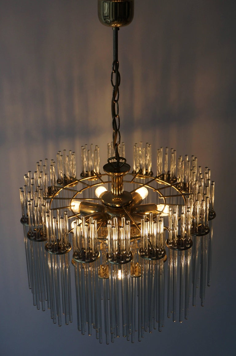 Italian Murano Glass and Brass Chandelier For Sale 4