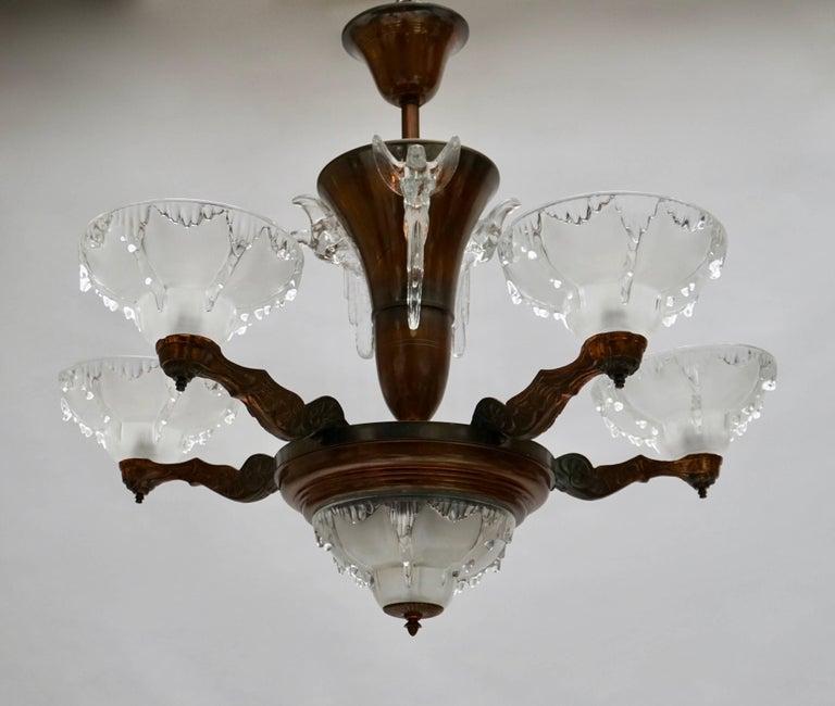 Belgian Art Deco Chandelier For Sale