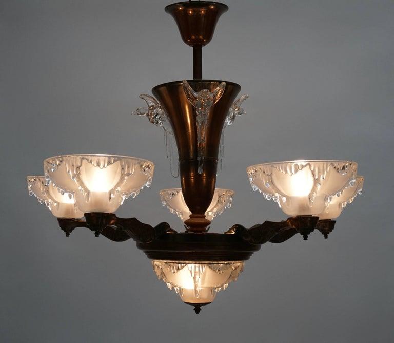 Art deco chandelier. Diameter:80 cm. Height:68 cm. Six bulbs with bajonetfitting B22.