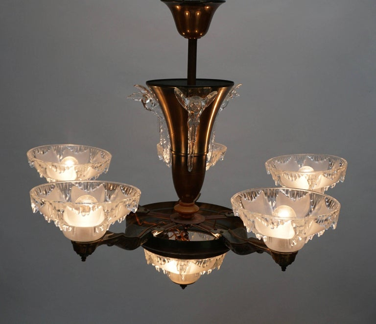 Brass Art Deco Chandelier For Sale