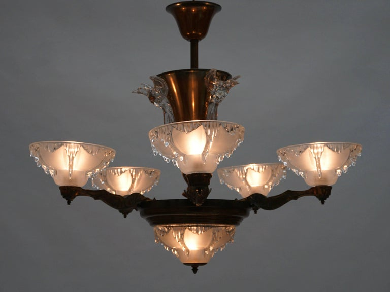 Early 20th Century Art Deco Chandelier For Sale
