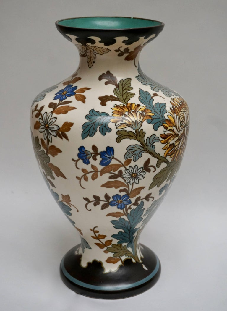 Gouda 1950s Hand Painted Large Vase For Sale At 1stdibs
