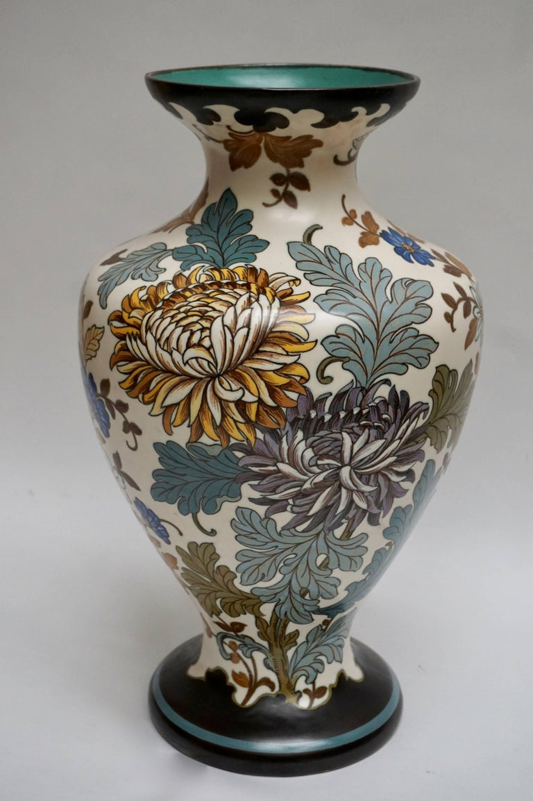 Dutch Gouda 1950s Hand-Painted Large Vase For Sale