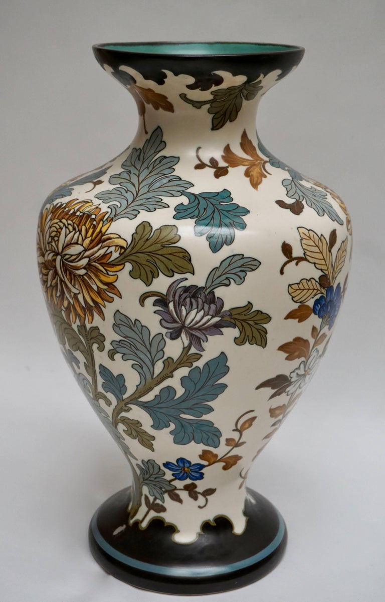20th Century Gouda 1950s Hand-Painted Large Vase For Sale