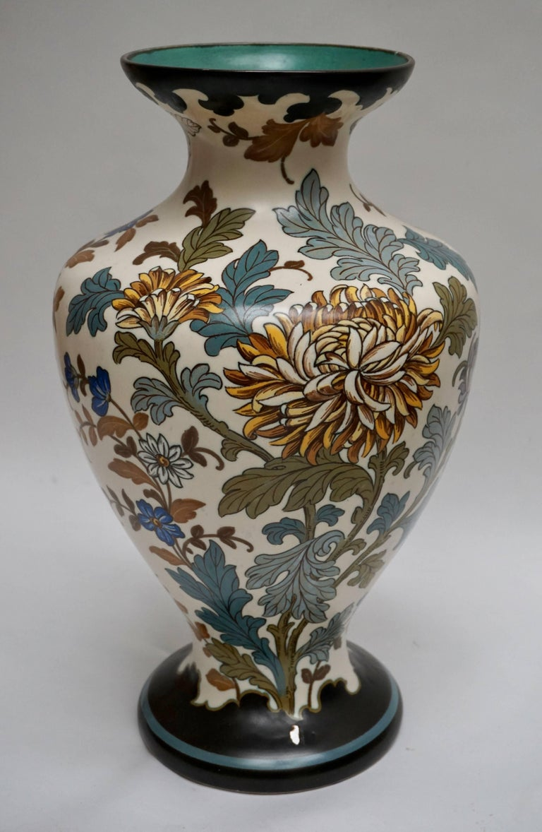 Ceramic Gouda 1950s Hand-Painted Large Vase For Sale