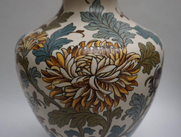 Gouda 1950s Hand-Painted Large Vase For Sale 1