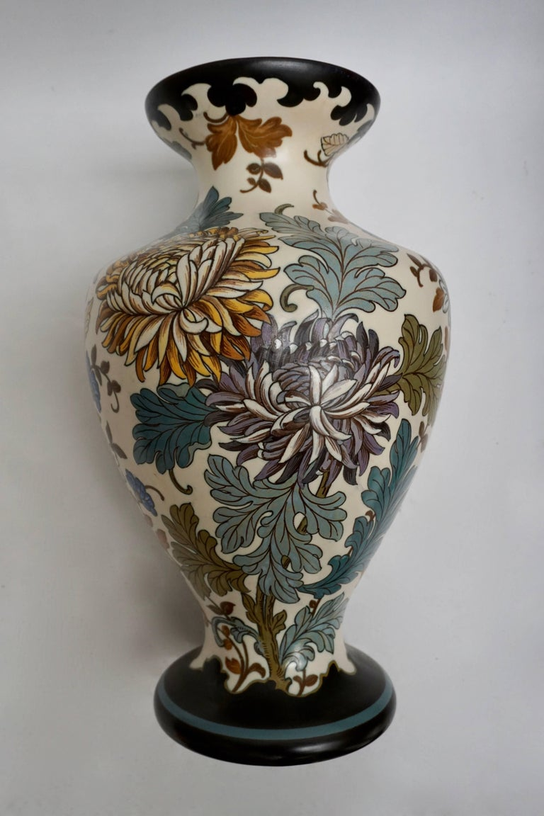 Gouda 1950s Hand-Painted Large Vase For Sale 2