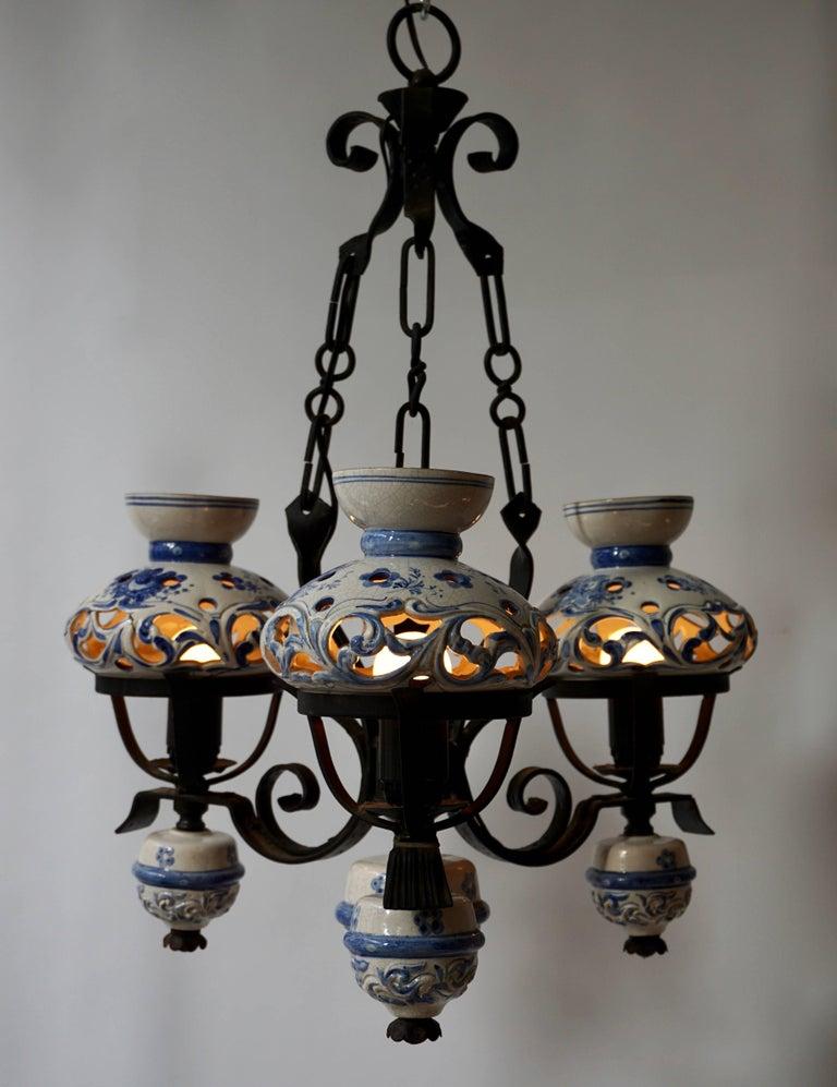 Mid-Century Modern Original Delft's Blue Chandelier For Sale