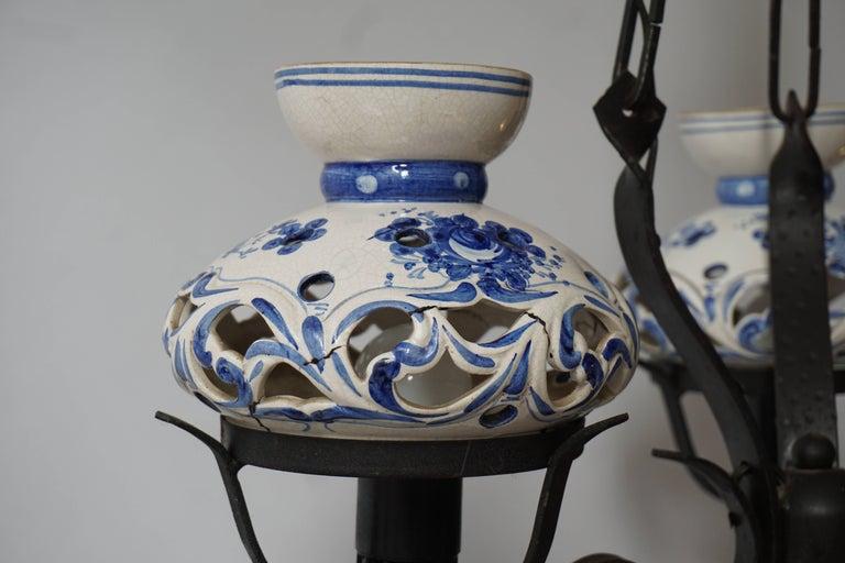 Original Delft's Blue Chandelier For Sale 2