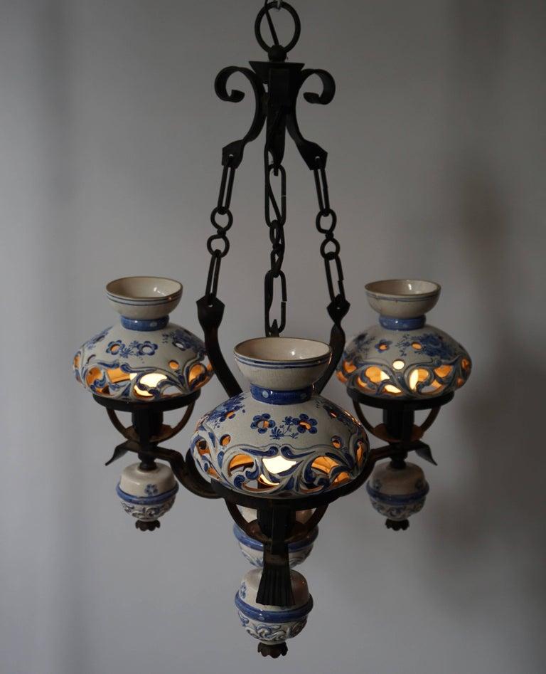 20th Century Original Delft's Blue Chandelier For Sale