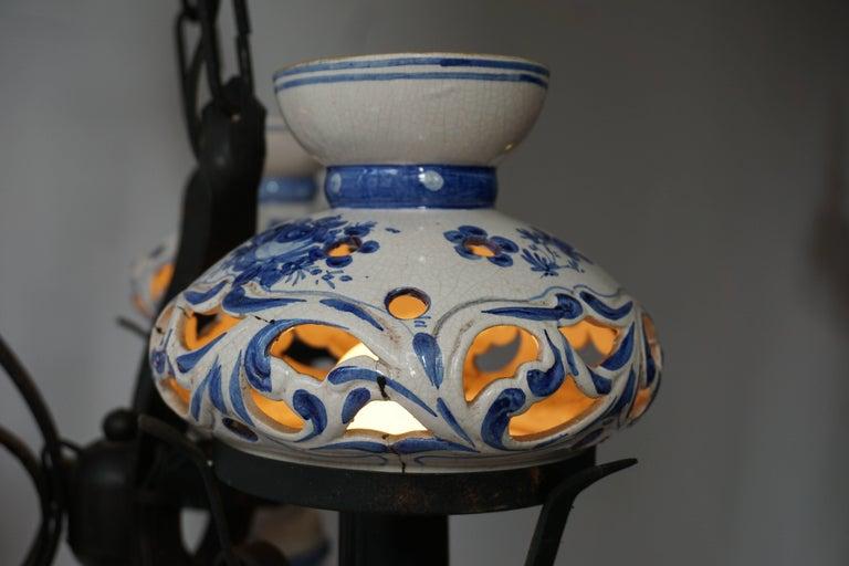 Original Delft's Blue Chandelier For Sale 3