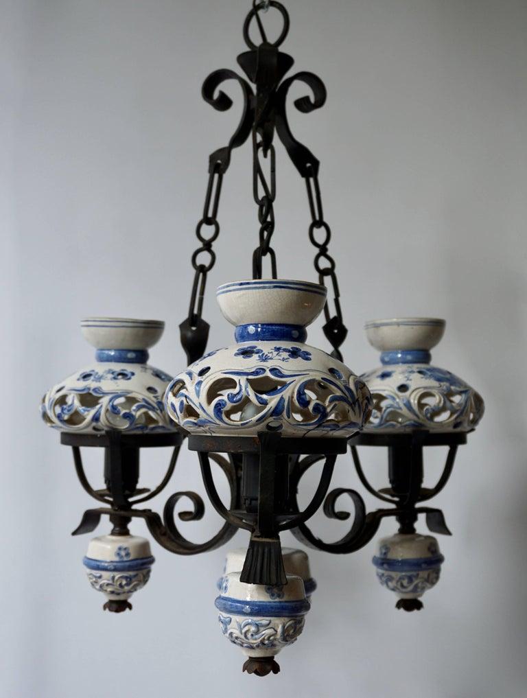 Dutch Original Delft's Blue Chandelier For Sale