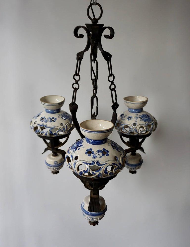 Ceramic Original Delft's Blue Chandelier For Sale