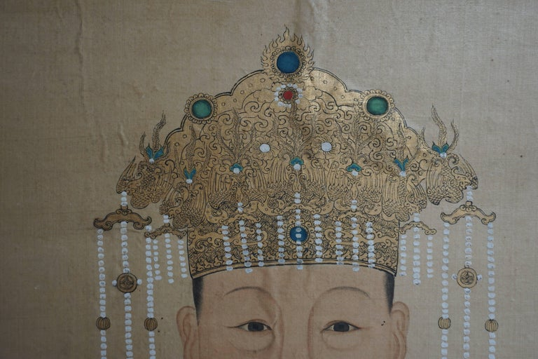 Chinoiserie Fine Chinese Painting on Silk, Lady of Class, 18th-19th Century For Sale