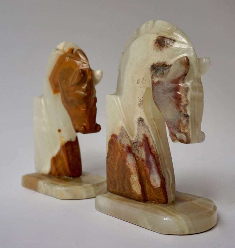 Italian Onyx Horse Art Deco Head Bookends In Good Condition For Sale In Antwerp, BE