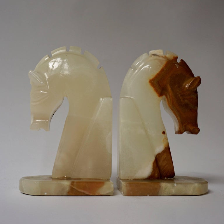 Italian Onyx Horse Art Deco Head Bookends For Sale 1