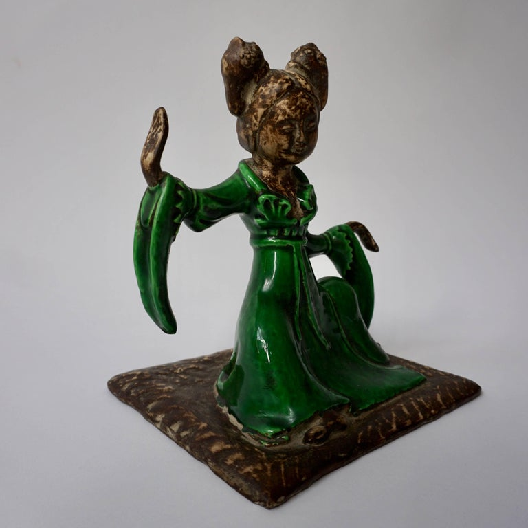 Rare female court musician by Zaccagnini, inspired by the ancient Chinese earthenware figures created for tombs during the Tang dynasty, signed.