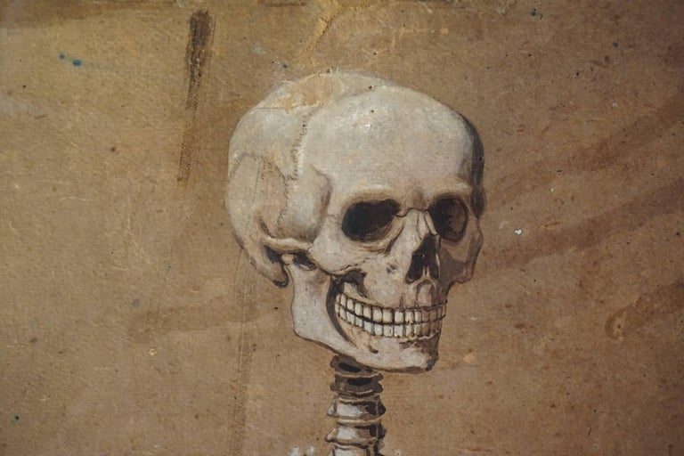 Italian Spectacular and Rare Pair of Watercolor Paintings Representing a Skeleton For Sale