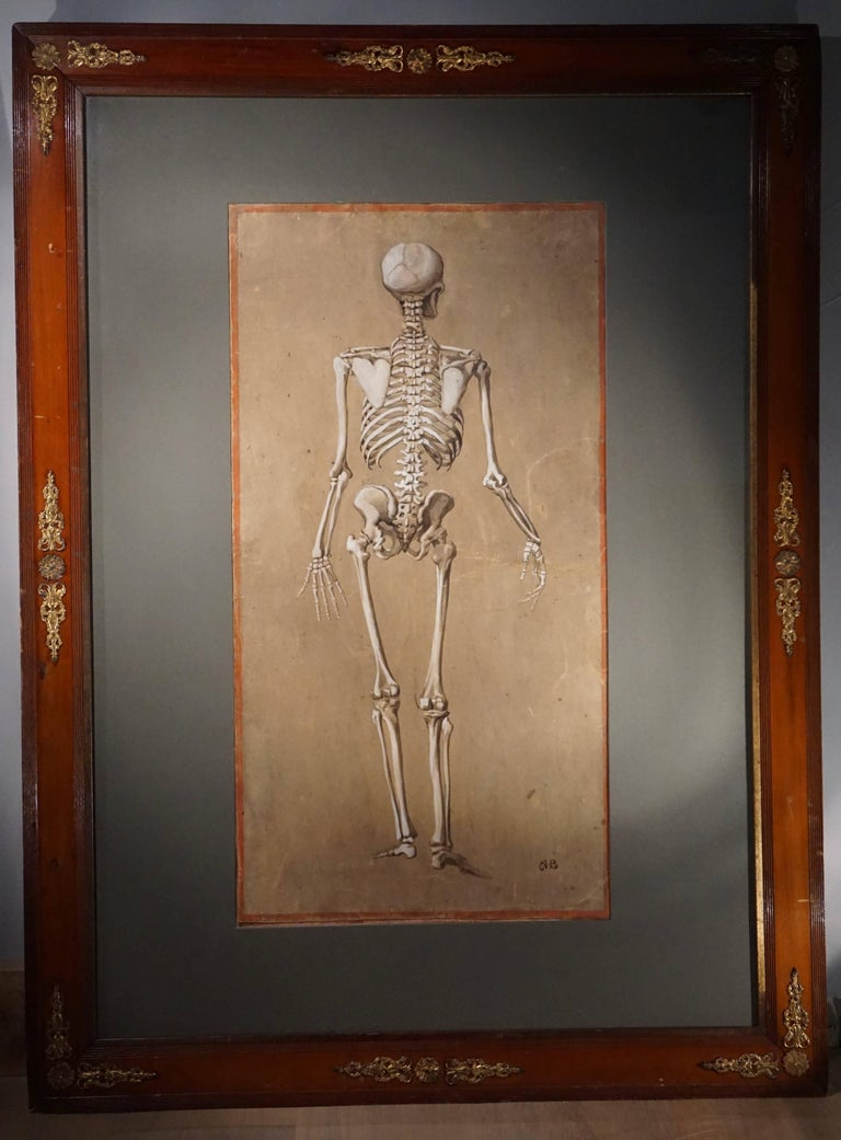 19th Century Spectacular and Rare Pair of Watercolor Paintings Representing a Skeleton For Sale