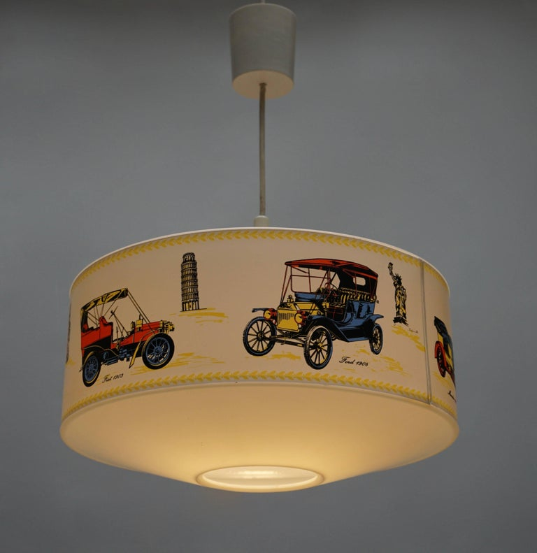 Mid-Century Modern Pendant Light Decorated with Oldtimers For Sale