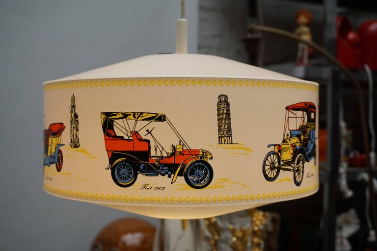 20th Century Pendant Light Decorated with Oldtimers For Sale