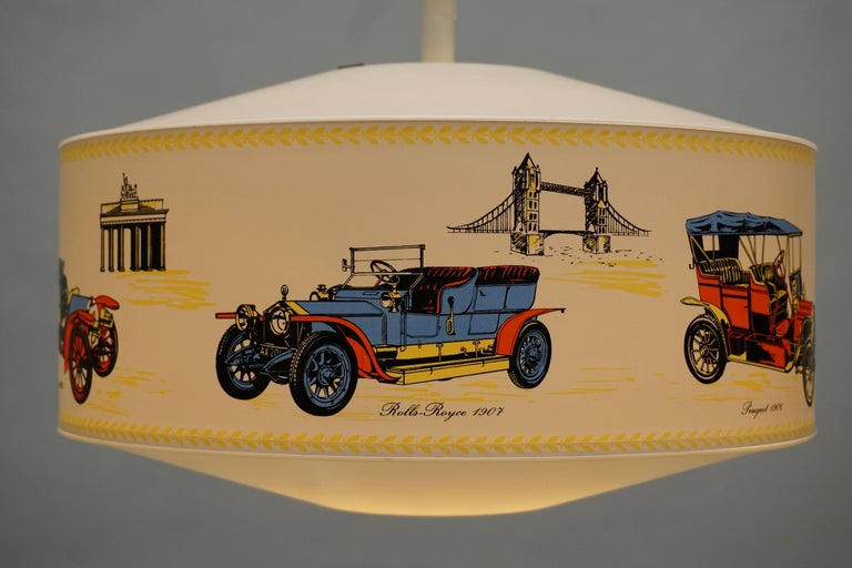 Acrylic Pendant Light Decorated with Oldtimers For Sale