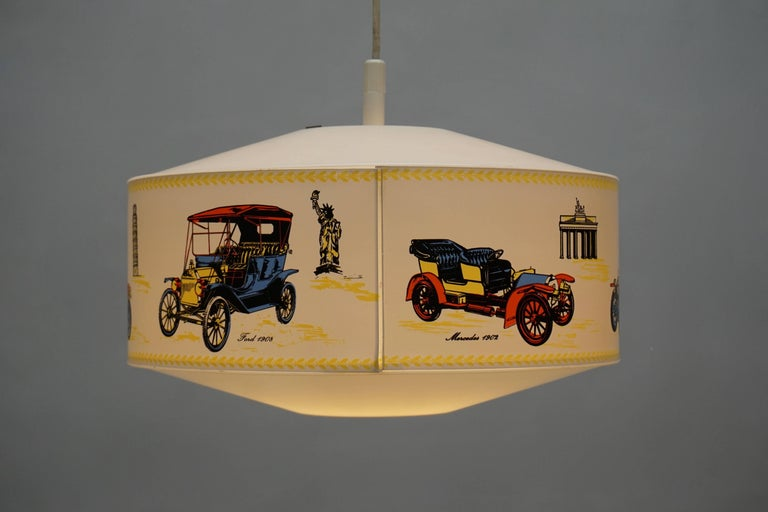 French Pendant Light Decorated with Oldtimers For Sale