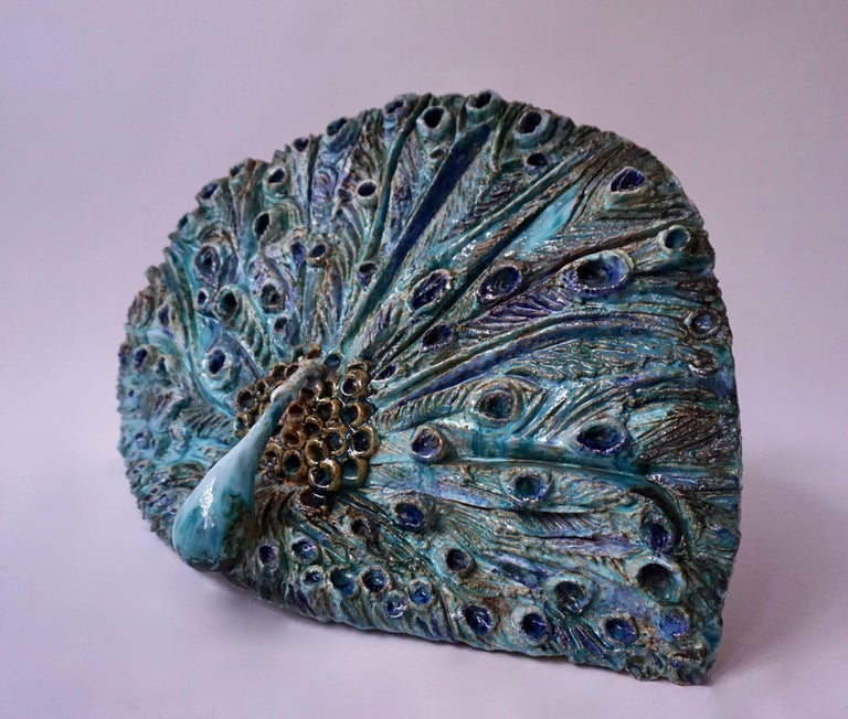 Extraordinary Ceramic Peacock For Sale 2