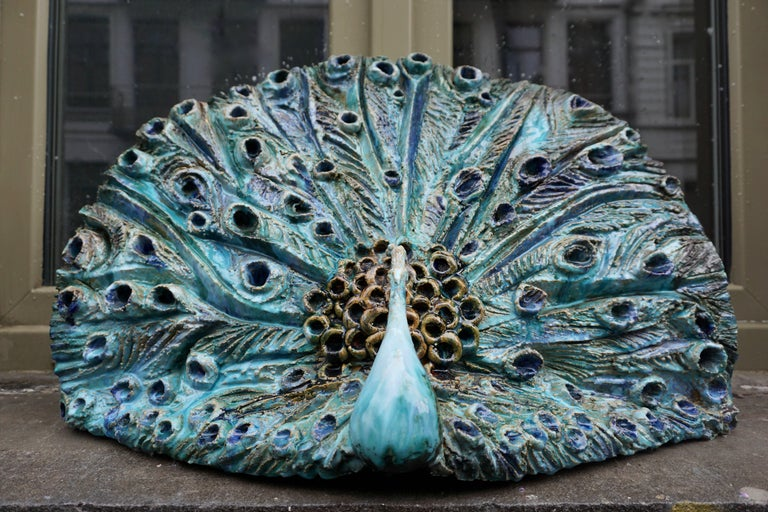 Italian Extraordinary Ceramic Peacock For Sale