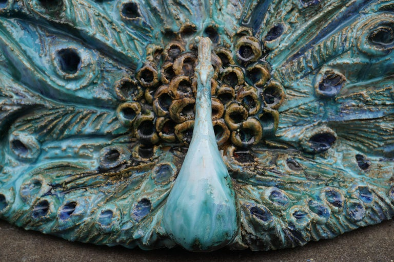 Extraordinary Ceramic Peacock In Good Condition For Sale In Antwerp, BE
