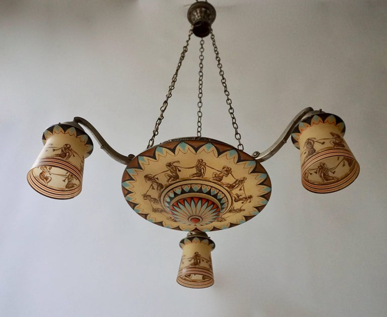 Art Deco Painted Opaline Glass Chandelier For Sale 1