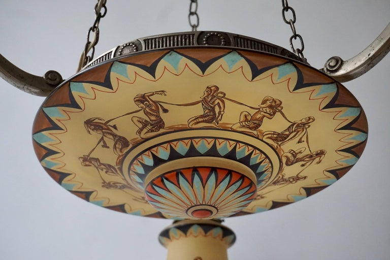 Metal Art Deco Painted Opaline Glass Chandelier For Sale