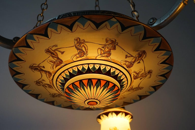 20th Century Art Deco Painted Opaline Glass Chandelier For Sale