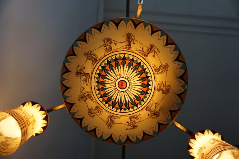 Art Deco Painted Opaline Glass Chandelier In Good Condition For Sale In Antwerp, BE