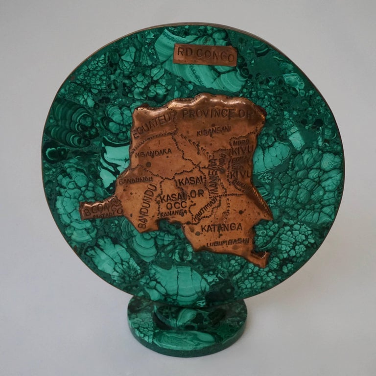 Congolese Malachite Sculpture with the Map of Congo For Sale