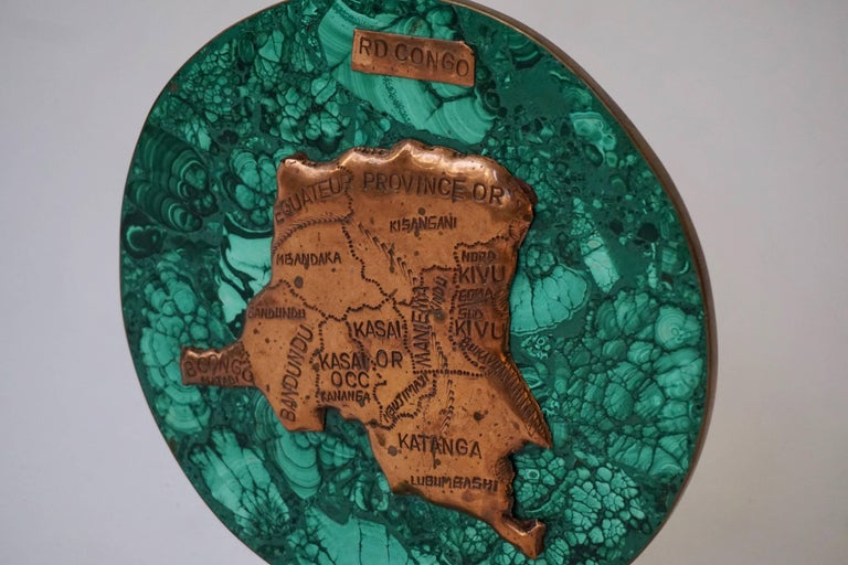 Mid-Century Modern Malachite Sculpture with the Map of Congo For Sale