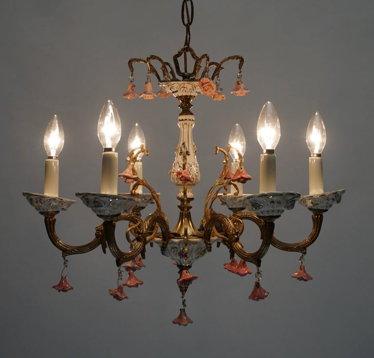 Mid-Century Modern Gilt Iron with Porcelain Flowers Chandelier For Sale