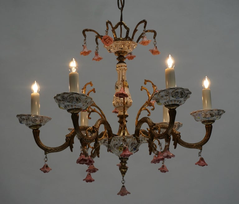 20th Century Gilt Iron with Porcelain Flowers Chandelier For Sale