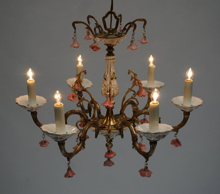Gilt Iron with Porcelain Flowers Chandelier For Sale 3