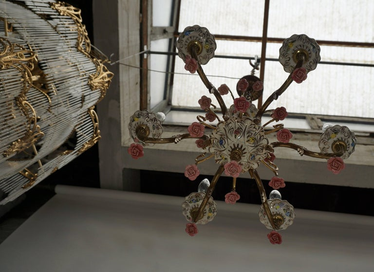 Brass Gilt Iron with Porcelain Flowers Chandelier For Sale