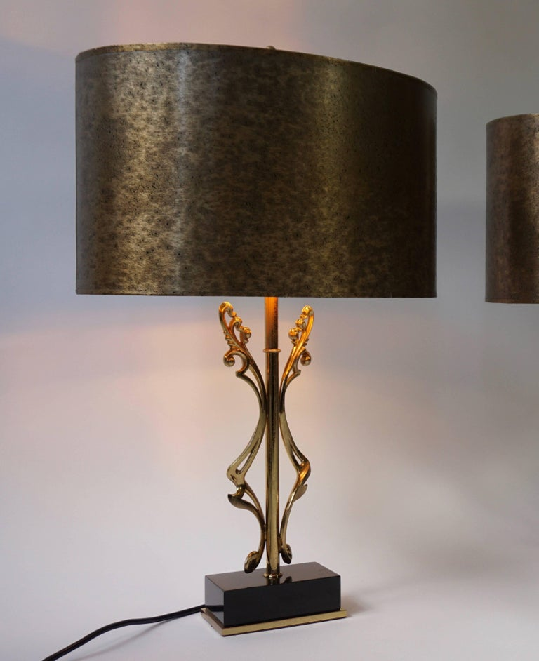 Italian Two Brass Table Lamps For Sale